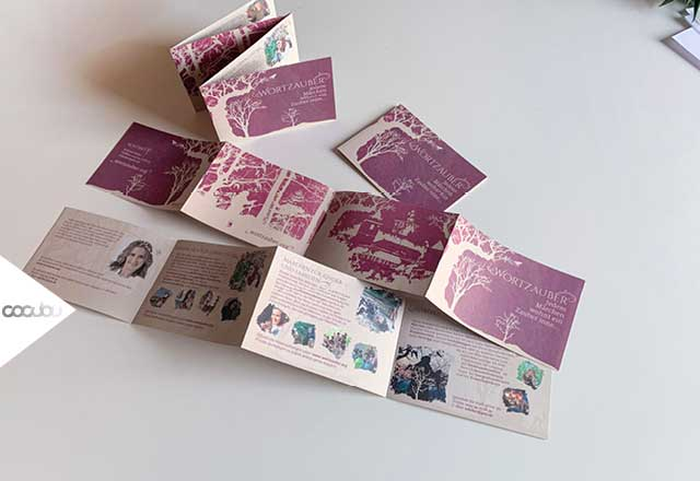 Wortzauber, Stefanie Keller, Flyer, Klimaneutral, Märchen, Scherenschnitt, Design, Recycling